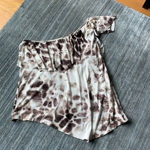 Just Cavalli Animal PrintOne Shoulder Ruffle Top M